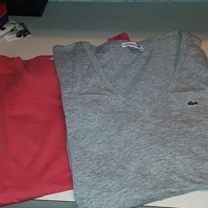 Lacoste cotton tee v neck size 42
